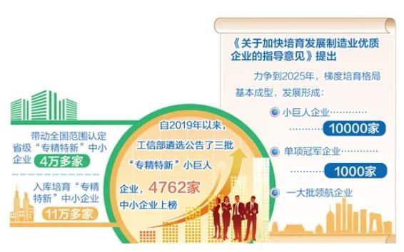 """全國培育3批逾4700家""""專精特新""""小巨人企業——構建大中小企業融通發展生態"""