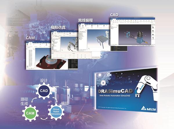 台达�机器人模拟整合平台DRASimuCAD 助力实现虚实结合效益