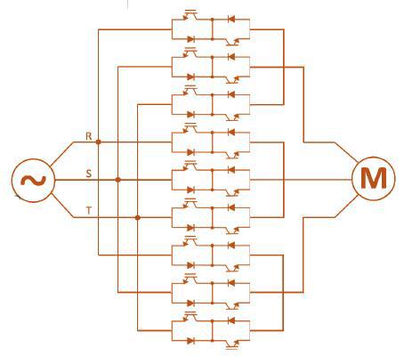 图中显示了矩阵设计变频器的拓扑结构.
