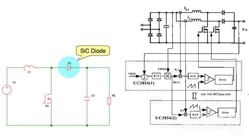 图2:sic管的硬开关boost电路