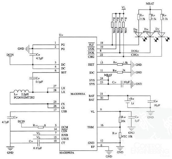 图2 电源管理部分电路原理图   (1)充电电流控制   充电电流受R8P和R9P控制,充电电流的最大值为1200/R8P,同时充电电流小于6000/R9P,其中6000/R9P直流电源限流设置。如图2所示,当R8P=1.5 k、R9P=3 k时,直流电源限流为6000/3000=2 A,充电限流1200/1500=0.8 A。如果R8P=1.