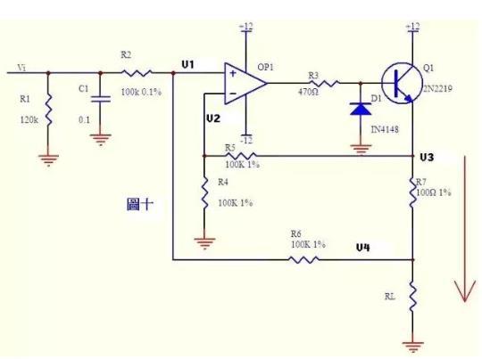 电流可以转换成电压,电压也可以转换成电流。图十就是这样一个电路。上图的负反馈没有通过电阻直接反馈,而是串联了三极管Q1的发射结,大家可不要以为是一个比较器就是了。只要是放大电路,虚短虚断的规律仍然是符合的!   由虚断知,运放输入端没有电流流过,   则 (Vi  V1)/R2 = (V1  V4)/R6 a   同理 (V3  V2)/R5 = V2/R4 b   由虚短知 V1 = V2 c   如果R2=R6,R4=R5,则由abc式得V3-V4=Vi   上式说明R7两端的电压和输入电压Vi